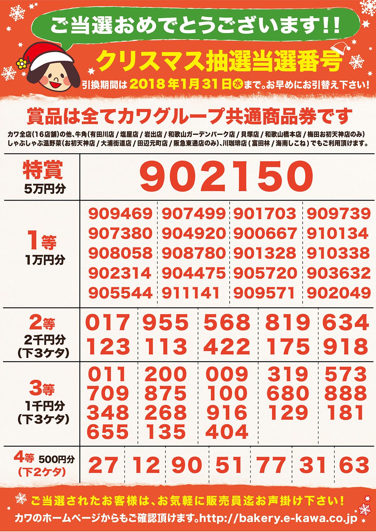 2017年クリスマス抽選当選番号の発表!!